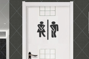 Download Free Restroom Door Sign Funny Restroom Sign Graphic By Thelovebyrds for Cricut Explore, Silhouette and other cutting machines.