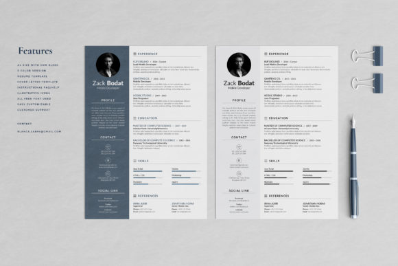 Resume Template 2 Pages Bodat