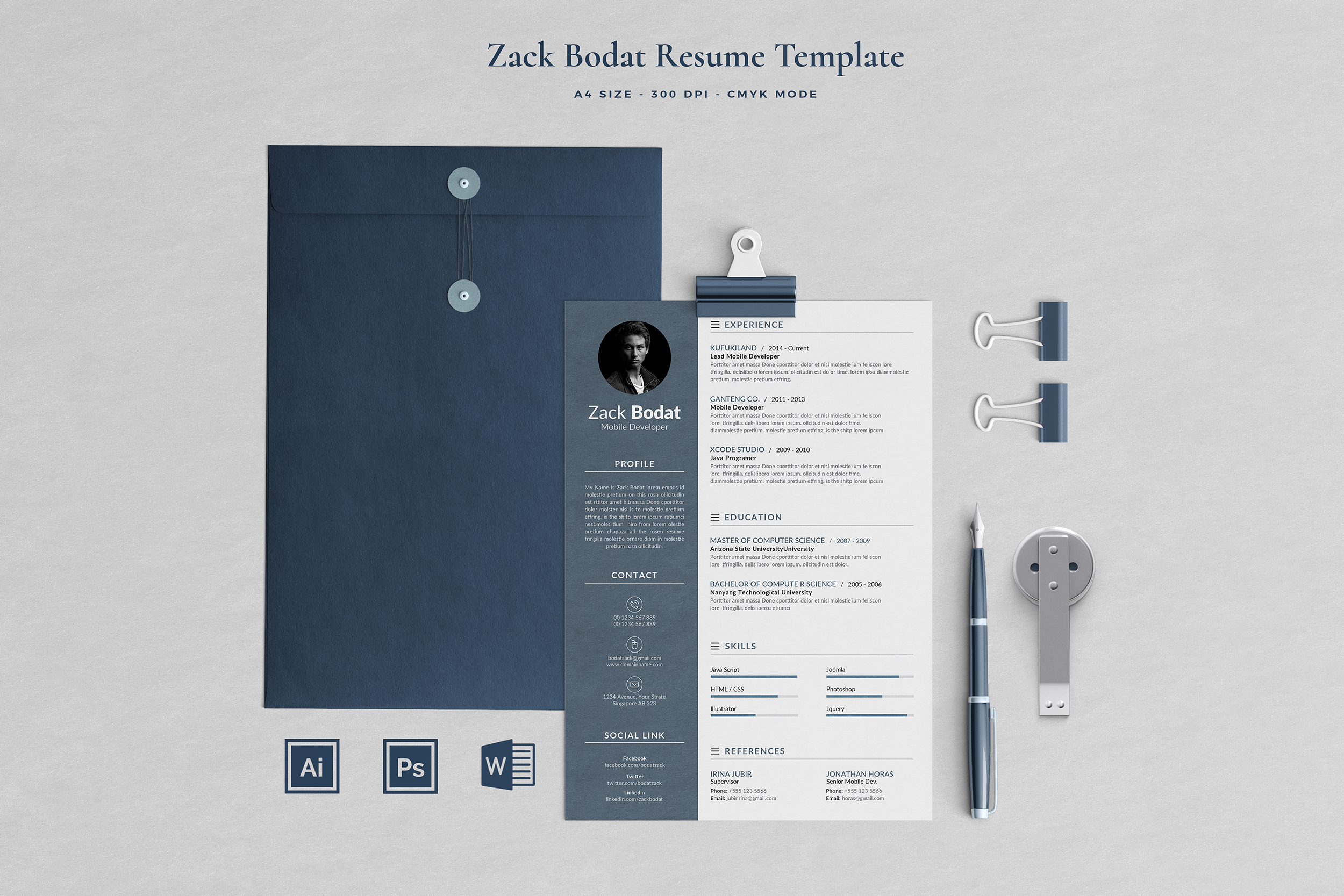Download Free Resume Template 2 Pages Bodat Grafico Por Blancalab Studio for Cricut Explore, Silhouette and other cutting machines.