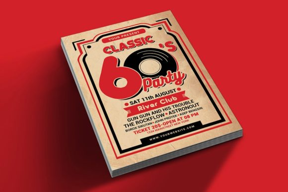 Download Free Retro 60s Music Event Graphic By Muhamadiqbalhidayat Creative for Cricut Explore, Silhouette and other cutting machines.
