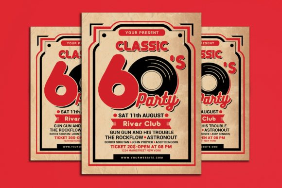 Retro 60s Music Event Graphic Print Templates By muhamadiqbalhidayat