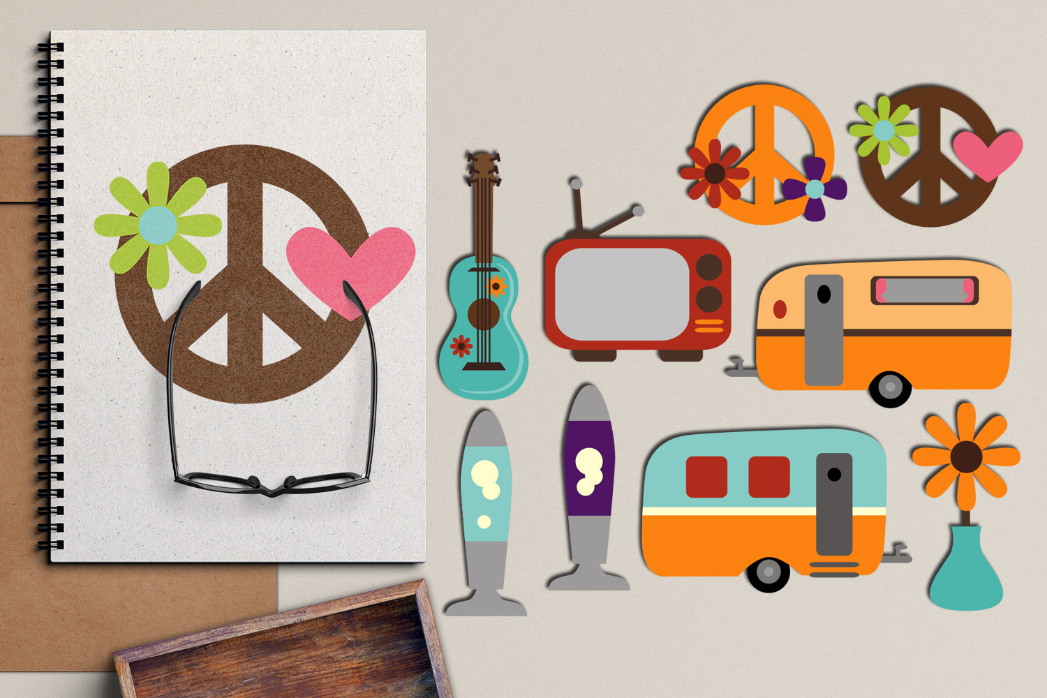 Download Free Retro Hippie Seventies Graphic By Revidevi Creative Fabrica for Cricut Explore, Silhouette and other cutting machines.