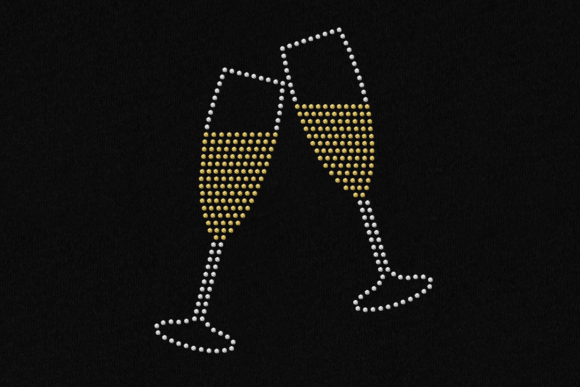 Download Free Rhinestone Champagne Toast Svg Template Graphic By SVG Cut Files