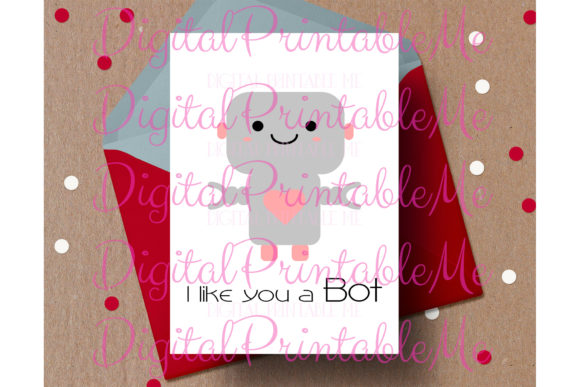 Robot Valentine's Day Card, Anniversary Graphic By DigitalPrintableMe