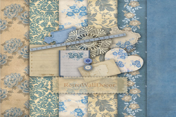 Print on Demand: Romantic Blue Digital Scrapbooking Kit Graphic Illustrations By retrowalldecor