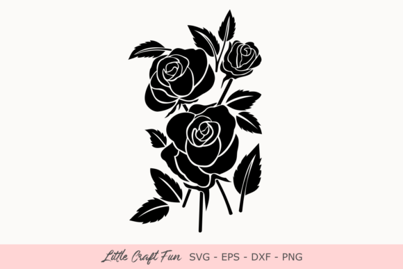Download Free Rose Flowers Silhouette Svg Graphic By Little Craft Fun for Cricut Explore, Silhouette and other cutting machines.