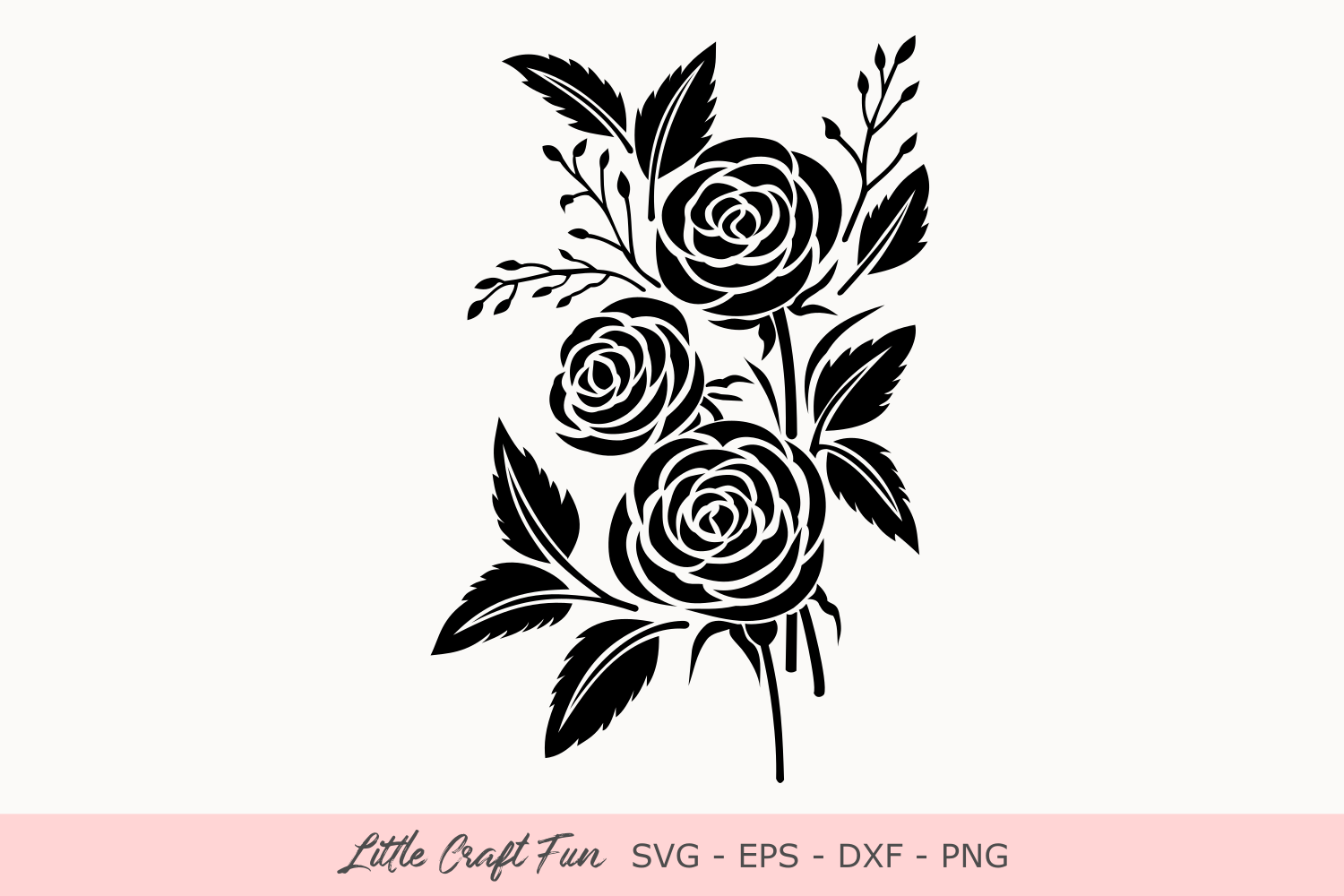Download Free Rose Flowers Silhouette Svg Graphic By Little Craft Fun SVG Cut Files