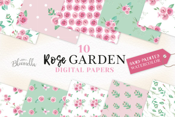 Rose Garden Pink Seamless Patterns Set Graphic By Bloomella