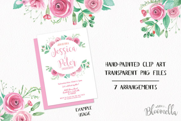 Rose Garden Pink Watercolor Flower Set Graphic By Bloomella Image 3