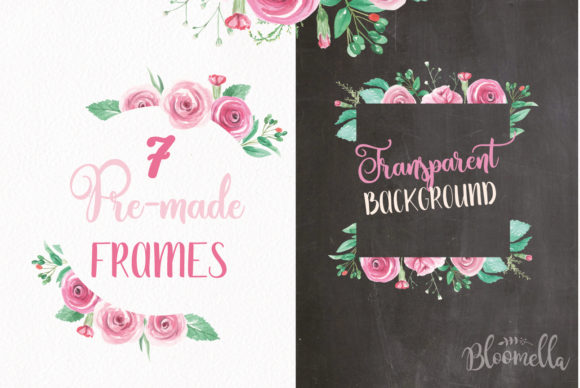 Rose Garden Pink Watercolor Flower Set Graphic By Bloomella Image 4