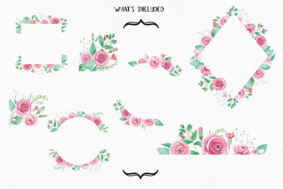 Rose Garden Pink Watercolor Flower Set Graphic By Bloomella Image 5