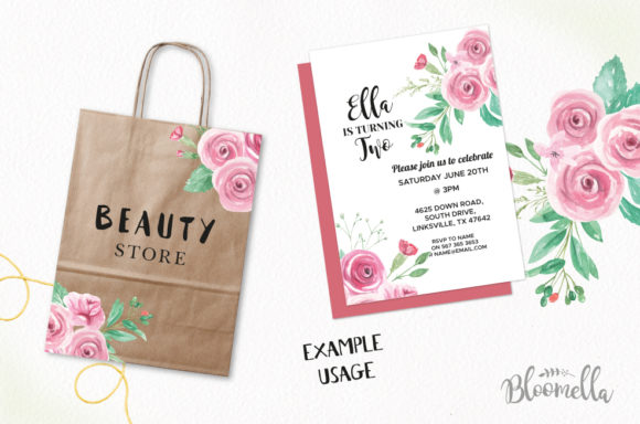 Rose Garden Watercolor 6 Bouquets Set Graphic Illustrations By Bloomella - Image 3