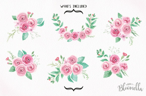 Rose Garden Watercolor 6 Bouquets Set Graphic Illustrations By Bloomella - Image 5