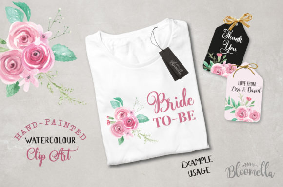 Rose Garden Watercolor 6 Bouquets Set Graphic Illustrations By Bloomella - Image 6