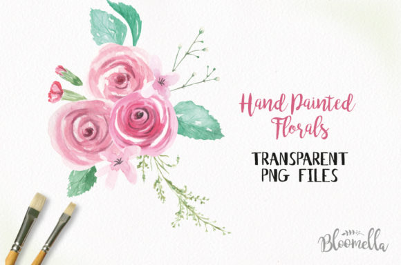 Rose Garden Watercolor 6 Bouquets Set Graphic Illustrations By Bloomella
