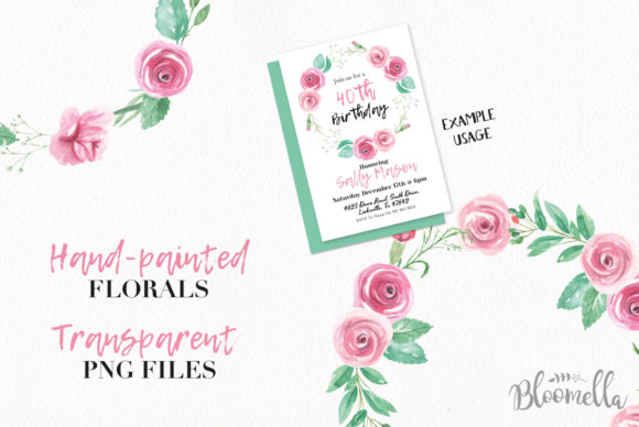 Rose Garden Wreaths Pink Set Watercolor Graphic Illustrations By Bloomella - Image 2