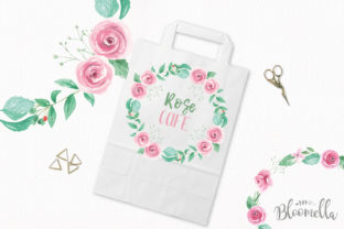 Rose Garden Wreaths Pink Set Watercolor Graphic Illustrations By Bloomella 3