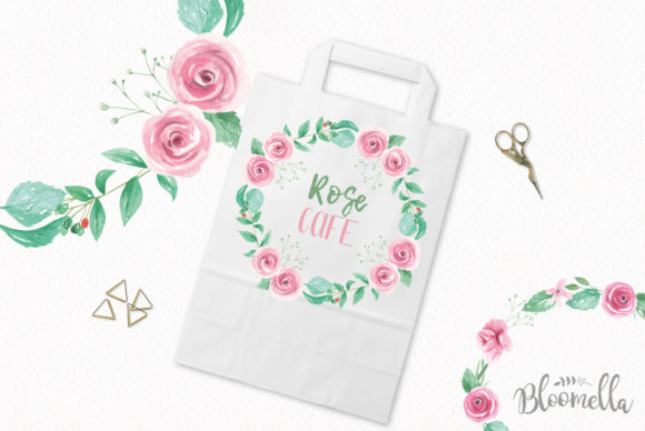 Rose Garden Wreaths Pink Set Watercolor Graphic Illustrations By Bloomella - Image 3