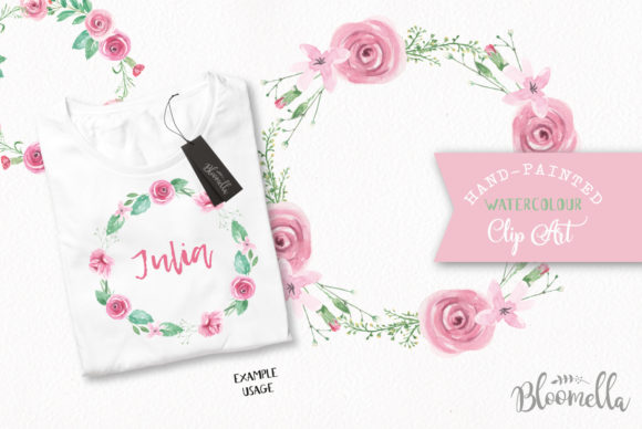 Rose Garden Wreaths Pink Set Watercolor Graphic Illustrations By Bloomella - Image 4