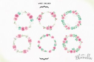 Rose Garden Wreaths Pink Set Watercolor Graphic Illustrations By Bloomella 5