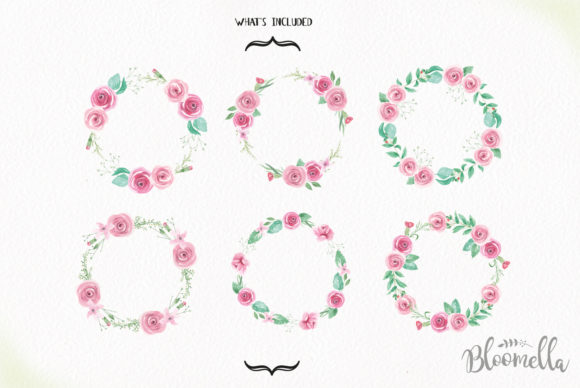 Rose Garden Wreaths Pink Set Watercolor Graphic Illustrations By Bloomella - Image 5