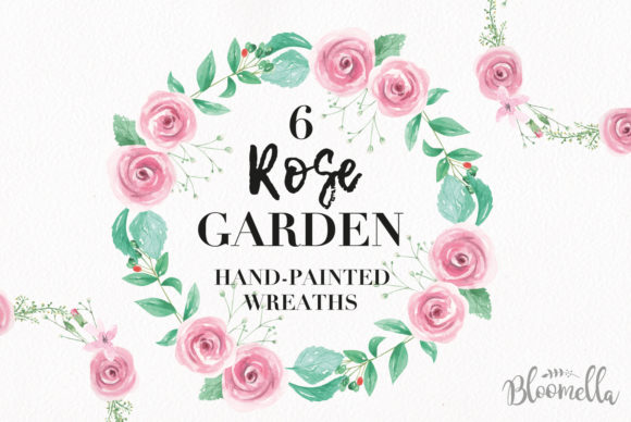 Rose Garden Wreaths Pink Set Watercolor Graphic Illustrations By Bloomella - Image 1