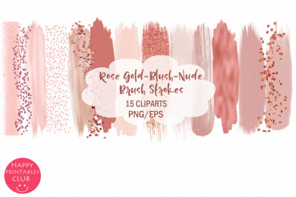 Print on Demand: Rose Gold Brush Strokes-Blush Nude Brush Graphic Illustrations By Happy Printables Club