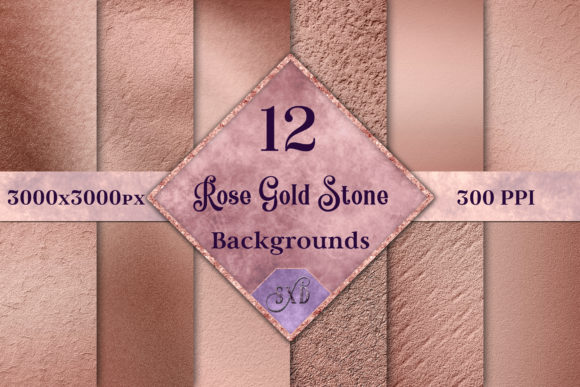 Print on Demand: Rose Gold Stone Backgrounds - 12 Images Graphic Backgrounds By SapphireXDesigns