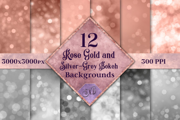 Print on Demand: Rose Gold and Silver Bokeh Backgrounds Graphic Backgrounds By SapphireXDesigns