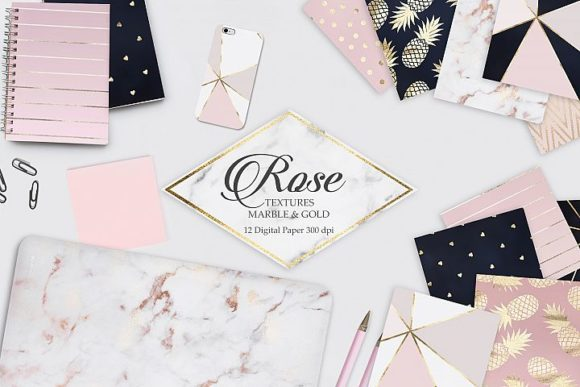 Rose Marble Gold and Navy Blue Textures Graphic Backgrounds By Creative Paper