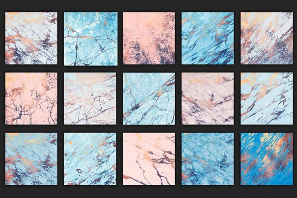 Print on Demand: Rose and Blue Marble Patterns Graphic Patterns By Creative Paper - Image 4