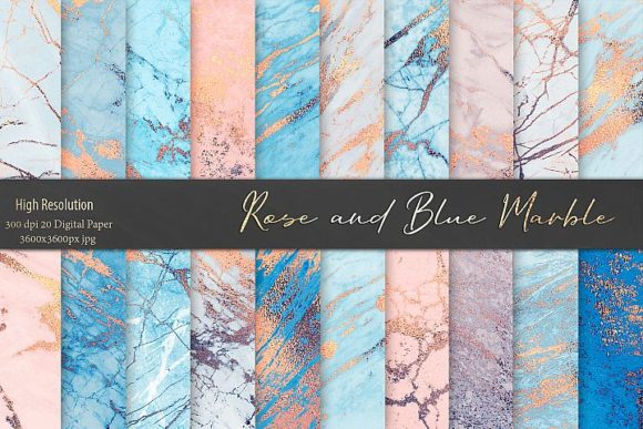 Print on Demand: Rose and Blue Marble Patterns Graphic Patterns By Creative Paper - Image 1