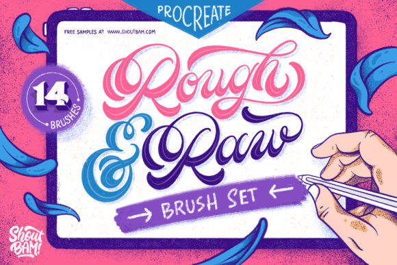 Rough & Raw Procreate Brush Set Graphic Brushes By Shoutbam