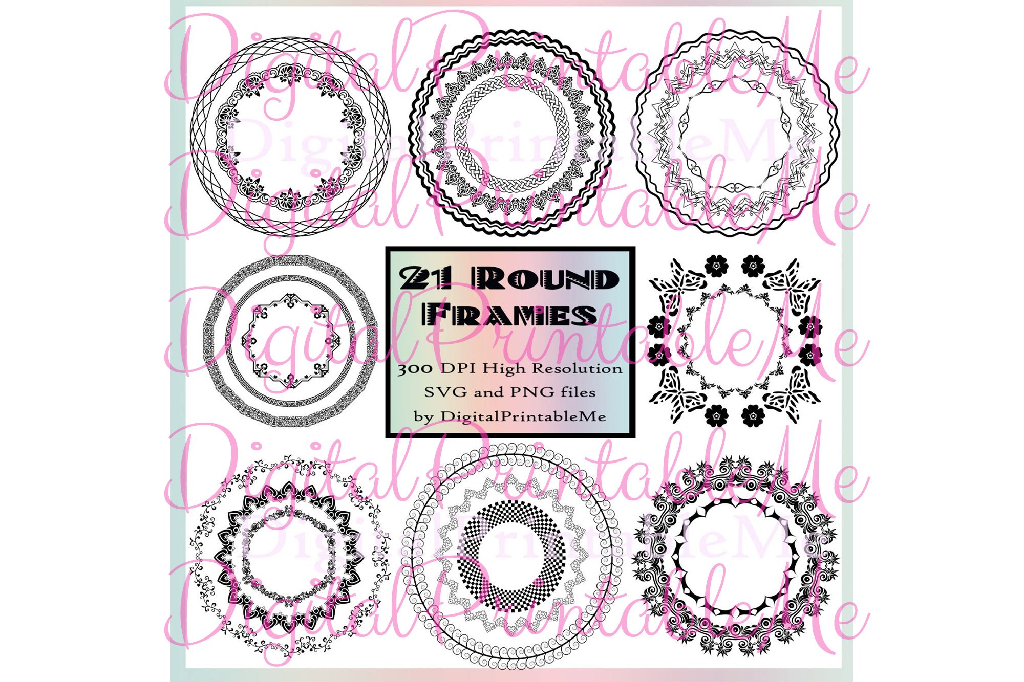 Download Free Round Frames Borders Clip Art Art Deco Graphic By Digitalprintableme Creative Fabrica for Cricut Explore, Silhouette and other cutting machines.
