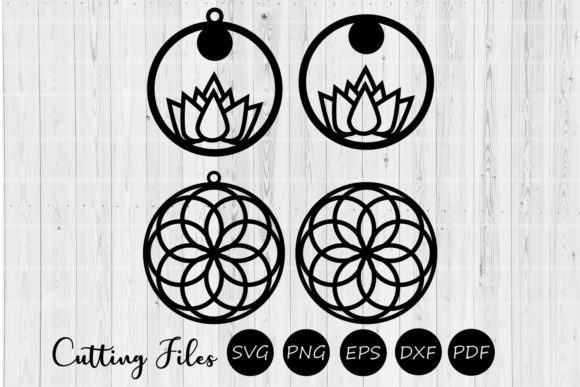 Download Free Round Mandala Lotus Earrings Svg Graphic By Hd Art Workshop for Cricut Explore, Silhouette and other cutting machines.