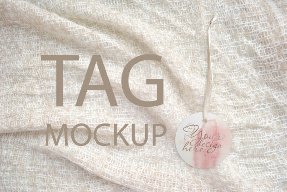 Print on Demand: Round Tag Mockup, Styled Stock Photograp Graphic Product Mockups By Natalia Arkusha - Image 1