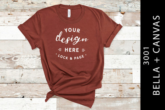 Rust Bella Canvas 3001 T Shirt Mockup Graphic Product Mockups By lockandpage