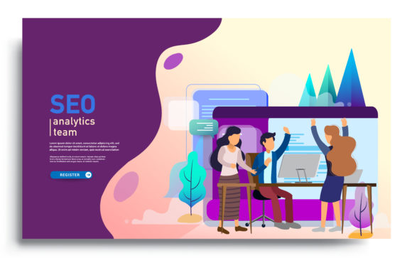 SEO Analytics Team Landing Page Template Graphic Landing Page Templates By OtpirusThree