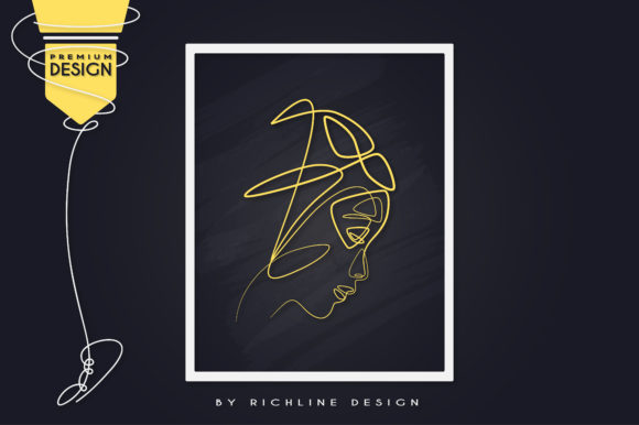 Sad Girl Korean Line Art Poster Graphic Illustrations By RICHLINE DESIGN