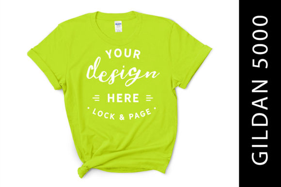 Safety Green Gildan 5000 T-Shirt Mockup Graphic Product Mockups By lockandpage