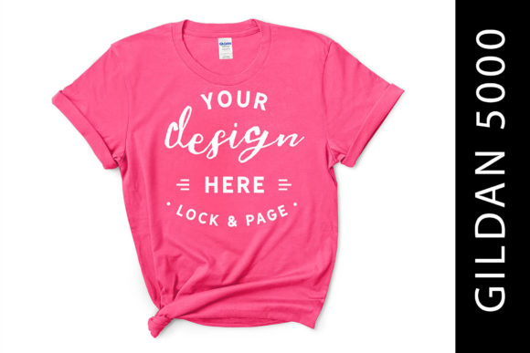 Safety Pink Gildan 5000 T-Shirt Flat Lay Graphic Product Mockups By lockandpage