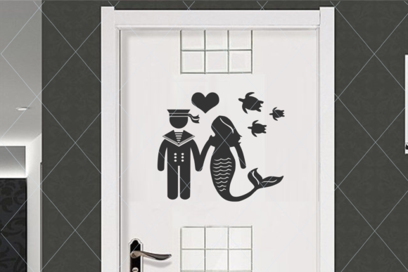 Print on Demand: Sailor and Mermaid Svg, Restroom Sign 2 Graphic Crafts By TheLoveByrds