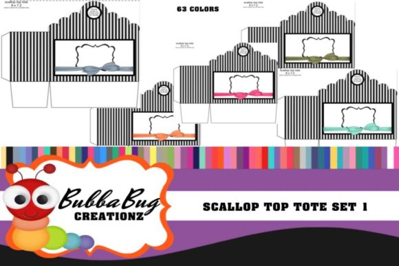 Scallop Top Tote Set 1 Graphic Crafts By BUBBABUG