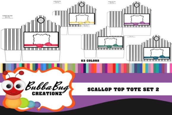 Scallop Top Tote Set 2 Graphic Crafts By BUBBABUG