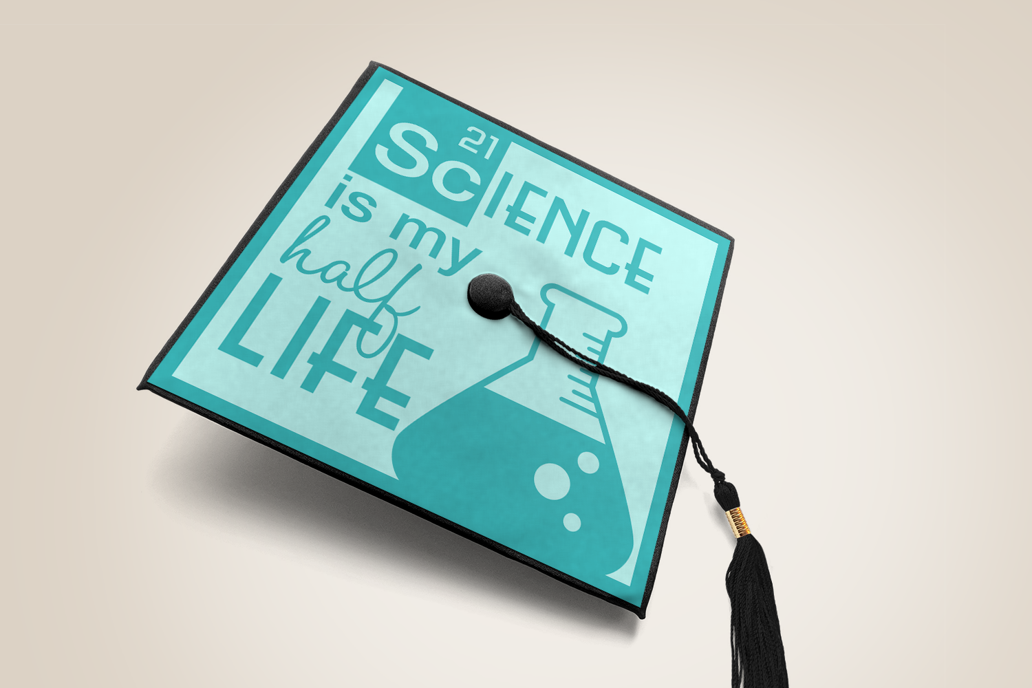 Download Free Science Is My Half Life Grad Cap Svg Graphic By Risarocksit for Cricut Explore, Silhouette and other cutting machines.