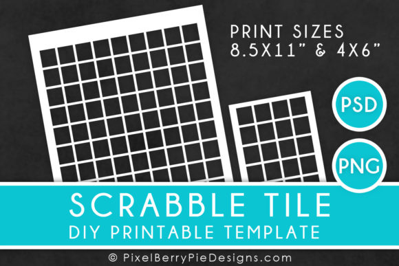 Print on Demand: Scrabble Tile Printable Collage Template Graphic Print Templates By Pixel Berry Pie Designs