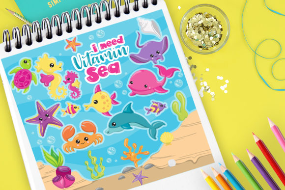 Print on Demand: Sea Animals Graphic Illustrations By Prettygrafik