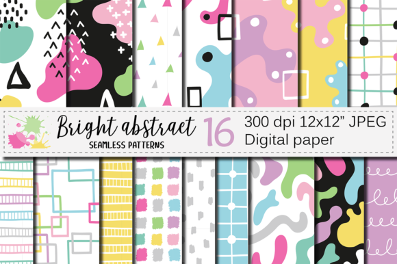 Seamless Bright Abstract Patterns Graphic Patterns By VR Digital Design