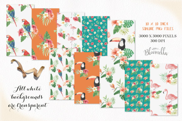 Seamless Patterns Tropical Flamingo Set Graphic By Bloomella Image 3
