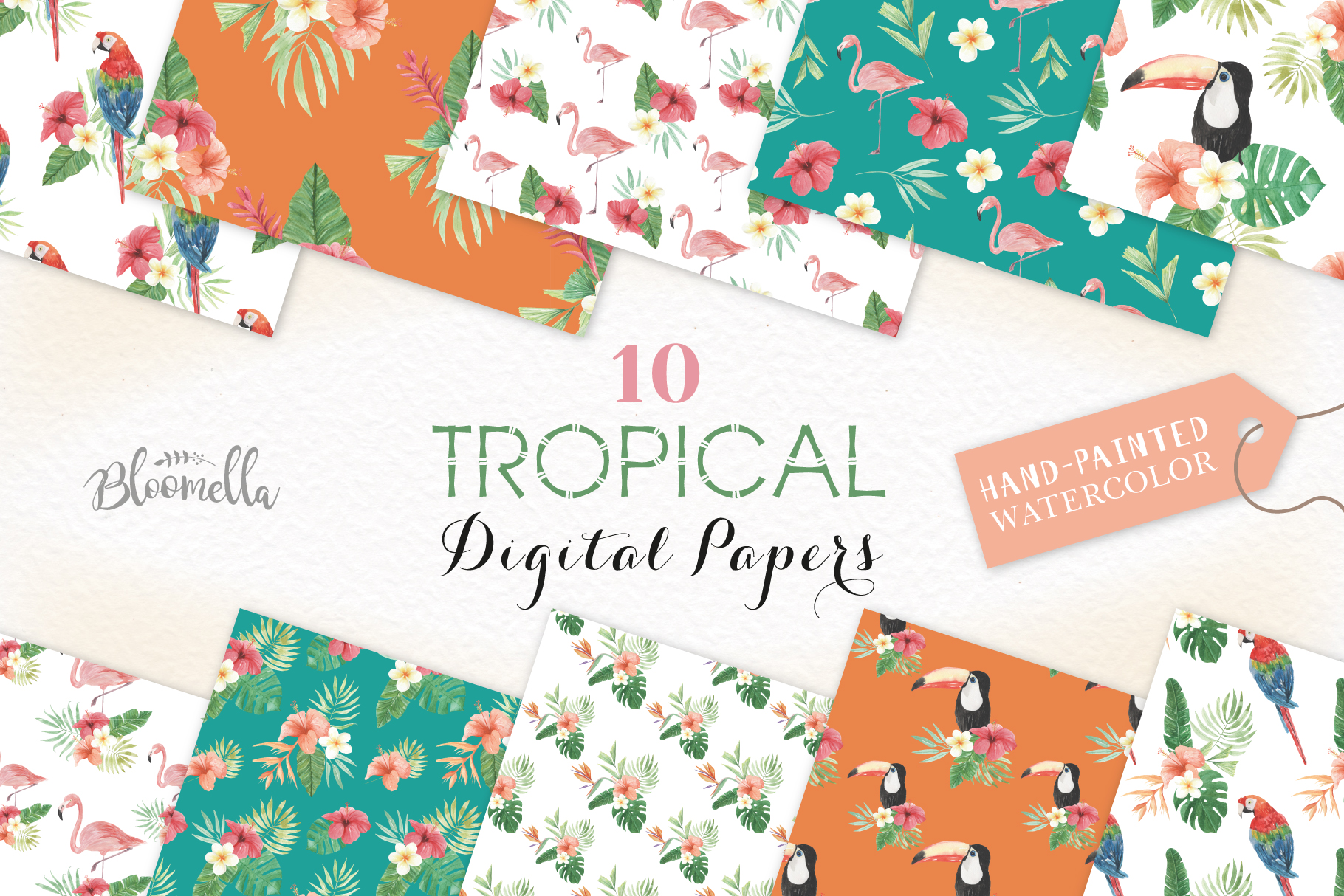 Download Free Seamless Patterns Tropical Flamingo Set Graphic By Bloomella for Cricut Explore, Silhouette and other cutting machines.